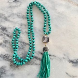 Long Teal Green Tassel Boho Necklace